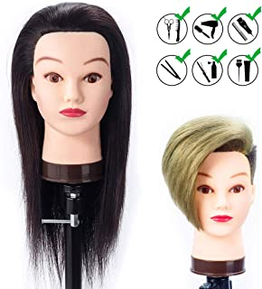 HAIREALM 20'' 100% Human Hair Mannequin Head Cosmetology Doll Head for Hair Styling Manikin Head with Free Clamp Stand HJ0214P