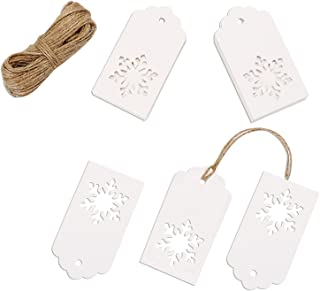 Whaline 100 Pcs Christmas Paper Tags Kraft Gift Tags Snowflake Shape Hang Labels with 30 Meters Twine for DIY Arts and Crafts, Wedding Thanksgiving and Holiday (White)