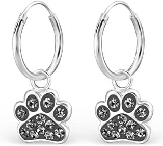 925 Sterling Silver Hypoallergenic Black Diamond Crystal Paw Print on Endless Hoop Earrings for Girls 28056