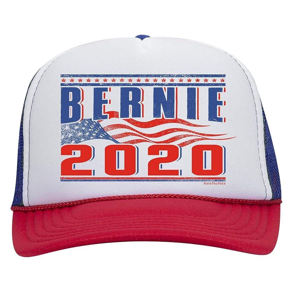 NeeNoNex Bernie 2020 with American Flag Polyester Foam Front Mesh Back Trucker Hat (Bernie Flag)