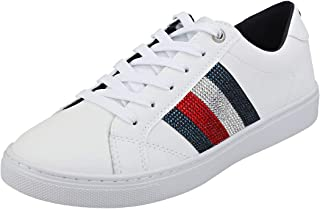 TOMMY HILFIGER Crystal Leather Casual Womens Sneakers White
