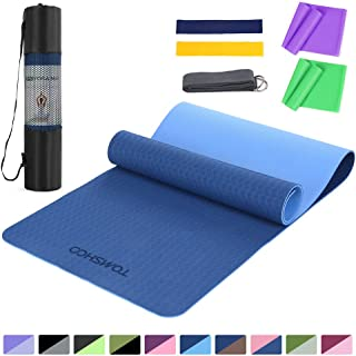 TOMSHOO 1/4In Yoga Mat with Resistance Bands Set, Professional Latex Elastic Bands, Non-Slip Texture Pro Yoga Mat Eco Frie...