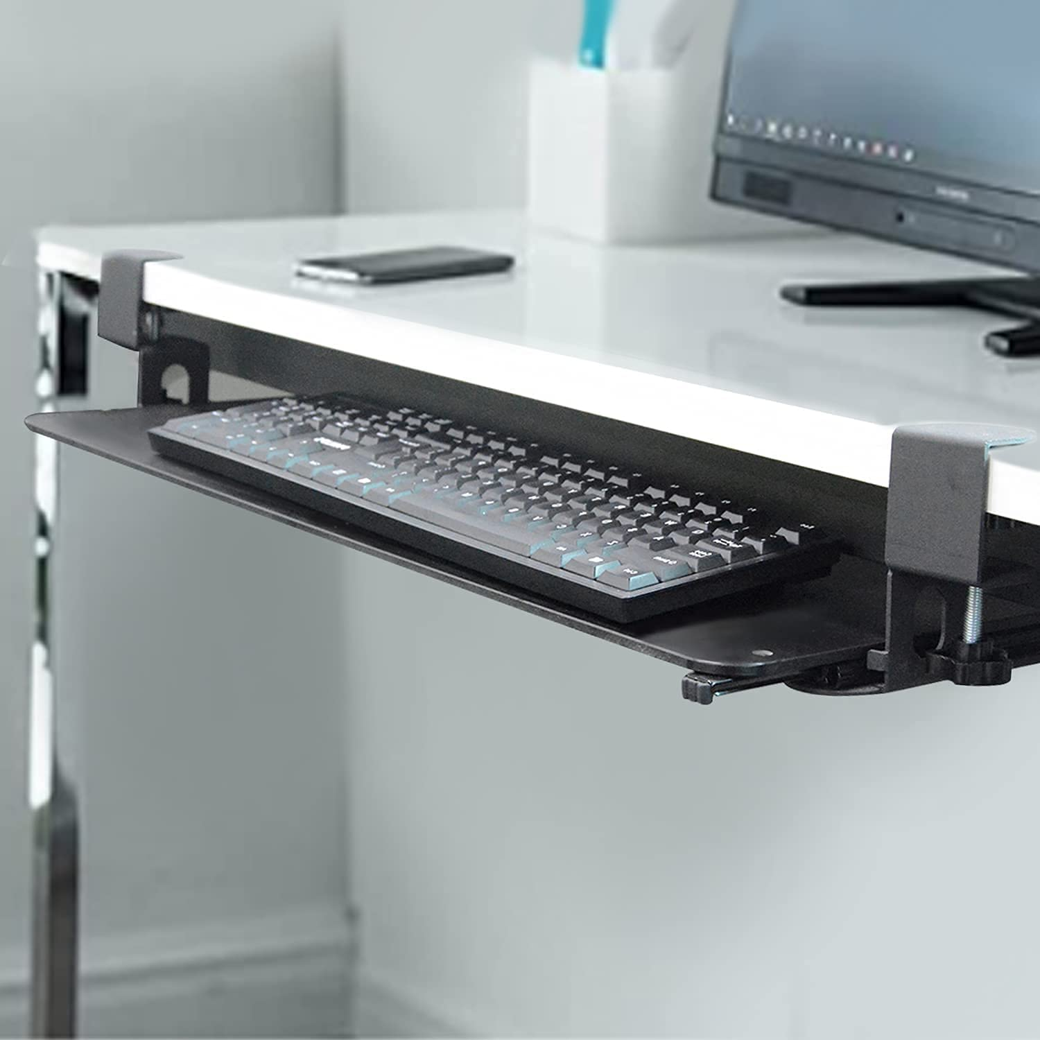 uyoyous Louisville-Jefferson County Mall Keyboard Tray Max 64% OFF Under Desk with Large C Sturdy for D Clamp