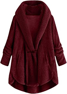 Plus Size Women Plush Hooded Jacket Button Tops Loose Overcoat Wool Coat Winter Outwear DongDong