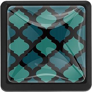 EZIOLY Mosaico árabe azul tono cuadrado para armarios de cocina armarios aparadores tiradores de cajón 3 piezas