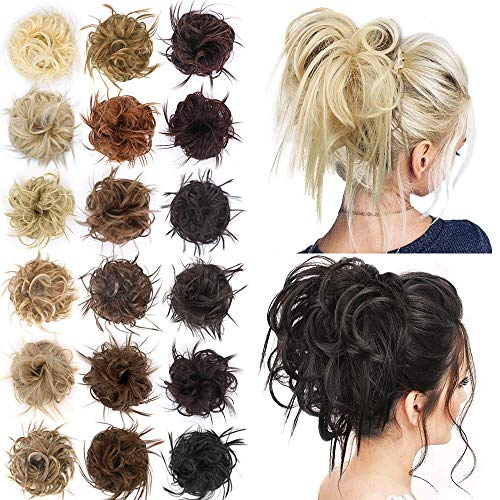 AISI BEAUTY Tousled Updo Hair Pieces Messy Bun Hair Scrunchies Extensions Hair Pieces and Ponytails Hair Extensions for Women. (12H24(Light Golden Brown Mix Pale Golden Blonde Mixed))