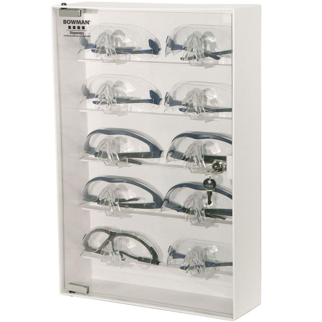 Eyewear Cabinet - Locking Holds for 10 security of Popular products Keyholes Pairs