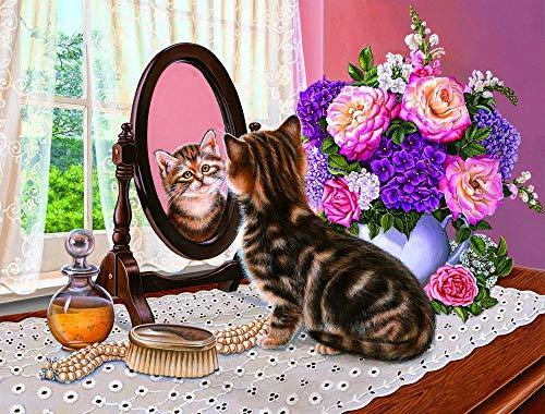 Doe-het-zelf olieverfschilderij met nummers, kat die in de spiegel ziet als bloem schilderen op nummers, digitaal voorgedrukte canvas-olieverfschilderij voor volwassenen, kinderen, beginners, huisdecoratie, 40 x 50 cm, zonder lijst