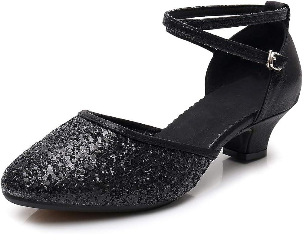 VCIXXVCE Womens Ballroom Dance Shoes Closed Toe Rhinestone Glitter Latin Salsa Performance Dance Shoes,Model 225