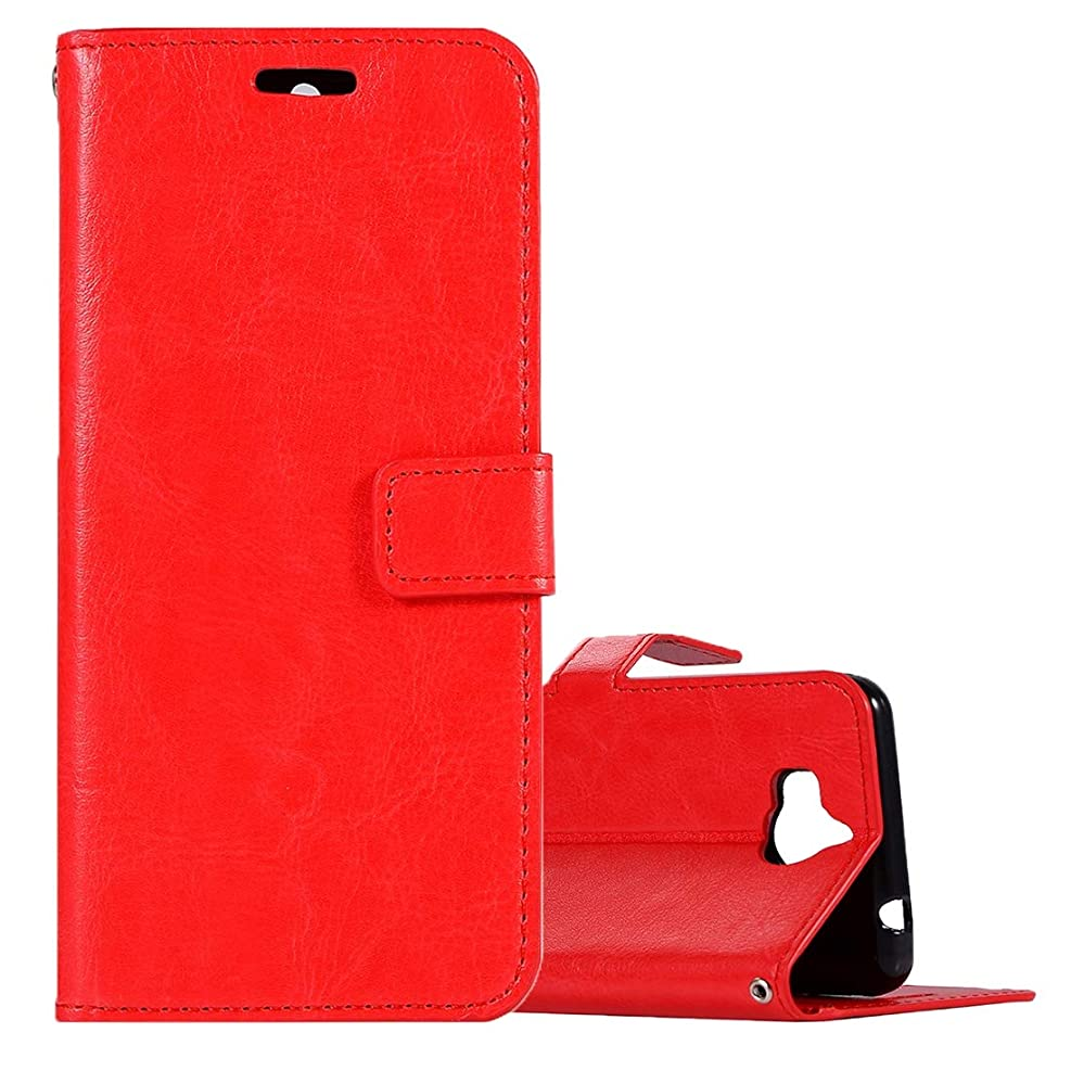 どこにも人間山岳WTYD 電話アクセサリー Huawei Y5(2017)クレイジー·ホース·テクスチャ·ホルダー&カード·スロット&ウォレット&フォトフレームと横フリップ·レザー·ケース 電話使用 (Color : Red)