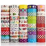 metagio Washi Tape 50 rollos de cinta adhesiva Washi con diseño de estrellas, sol, hojas verdes, flores, azul y amarillo