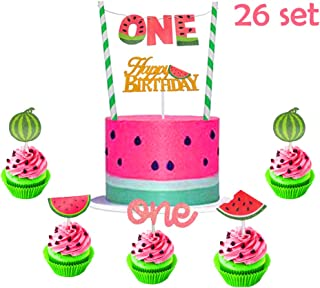 Suppar 26 Set The Big One Cake Topper One in a Melon Cupcake Toppers, Watermelon Cake Decorations for Baby 1st Birthday Party Supplies Summer Tropical Fruit Sweet Themed Party Cupcake Decor