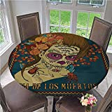 Fitted tablecloths Dia de Los Muertos Skull Girl with Roses Hearts Print Fitted Elastic No-Slip Tablecloths Waterproof and Heat Resistant Petrol Blue Caramel and Amber Diameter - 71 Inch