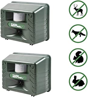 Aspectek Includes AC Adapter, Extension Cord Pest Repeller Yard Sentinel 2 Pack Outdoor Ultrasonic Animal Control, Green