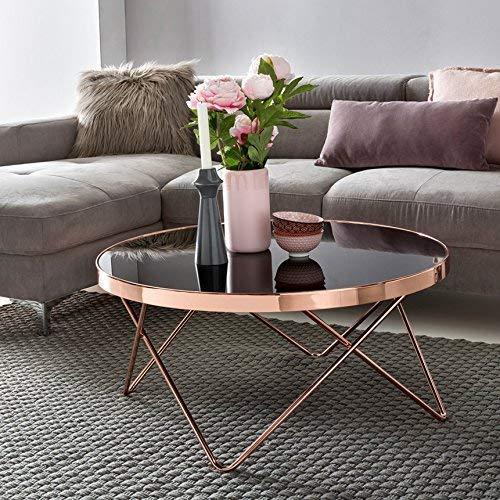 WOHNLING Design : Plateau en Verre Noir - Armature en cuivre - Diamètre : 82 cm - Table de Salon Moderne - Table Basse Ronde en Verre