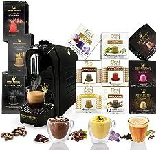 ماكينة قهوة سويسرية بريسو سوداء مع 12 عبوة (120 كبسولة) كبسولات متوافقة مع اسبريسو والشوكولاتة والشاي نيسبريسو
