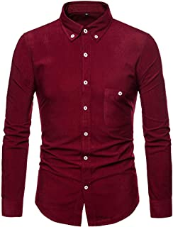 Yczx Mens Corduroy Shirt Long Sleeve Shirt Regular Fit Casual Winter Fall Spring Warm Plain Shirts Outwear Tops Non Iron F...