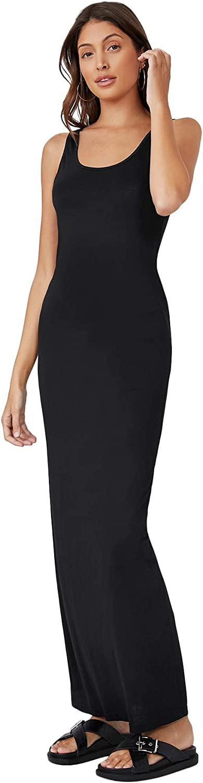 Verdusa Women's Casual Basic Scoop Neck Sleeveless Long Maxi Tank Dress