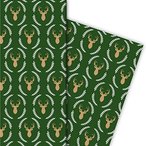 Kartenkaufrausch Elegantes Hirsch Geschenkpapier Set mit Hirsch Silhouette im Lorbeer Kranz nicht nur zu Weihnachten, grün, für tolle Geschenk Verpackung, Designpapier, 4 Bogen, 32 x 48cm