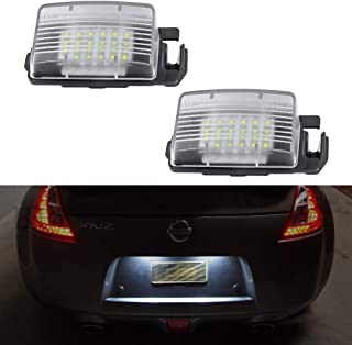 GemPro 2Pcs LED License Plate Light Lamp Assembly Replacement For Nissan 350z 370z GT-R Cube Leaf Sentra Versa 5D/4D Infiniti Q60 G35 G37 G25,  Powered by 18SMD Xenon White LED Lights