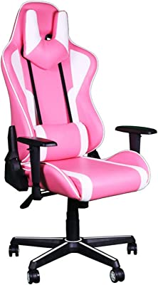 Gaming Chair, Office Computer Racing Chairs Headrest and Lumbar Pillow, PU Leather High Back Ergonomic Desk Chair, Height Adjustment Recliner Swivel Rocker Chair with Footstool for Home, Pink