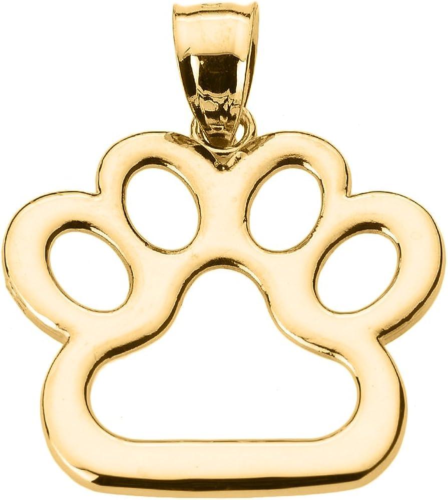 Polished 14k Gold Dog Paw Print Charm Pendant