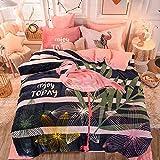 juegos de sábanas 160x200 verano-Invierno grueso cálido de doble cara funda nórdica de felpa corta sábana de franela colcha funda de almohada ropa de cama regalo-PAGS_Colcha de 1,5 m (4 piezas)
