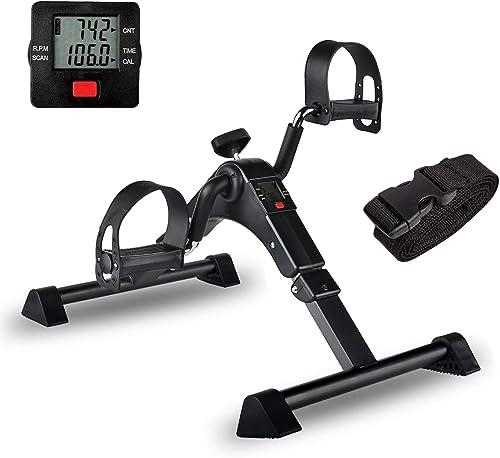 IPKIG Folding Pedal Exerciser - Portable Desk Bike, Under Desk Bike Pedal Exerciser for Leg and Arm Exercise, Low Imp...