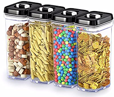 DW?LLZA KITCHEN Airtight Food Storage Containers with Lids ? 4 Piece Set/All Same Size - Medium Air Tight Clear Plastic Pantry & Kitchen Container for Chips & Snacks BPA-Free - Keeps Food Fresh & Dry