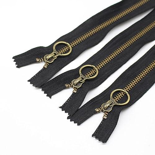 YaHoGa 10PCS 9 Inch (23cm)  5 Antique Brass Plated Metal Zippers Bulk Close 79aa5b937