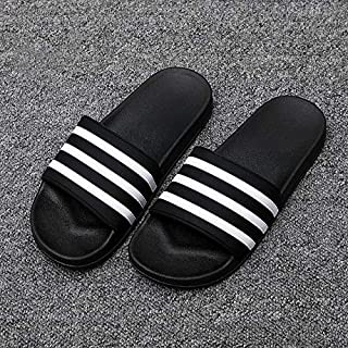 Slippers for Men Flip Flops Male Couple Slides Soft Black and White Stripes Casual Summer Shoes Simple casual sandals and slippers (Color : Black, Shoe Size : 10)