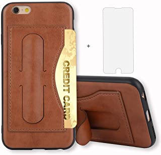iPhone 6/6s Case i Phone Case Wallet Leather with Credit Card Holder Slot and Tempered Glass Screen Protector Stand Protective Hard Cover for Apple iPhone6 iPhone6s Six i6 i6s i6s Women 4.7 inch Brown