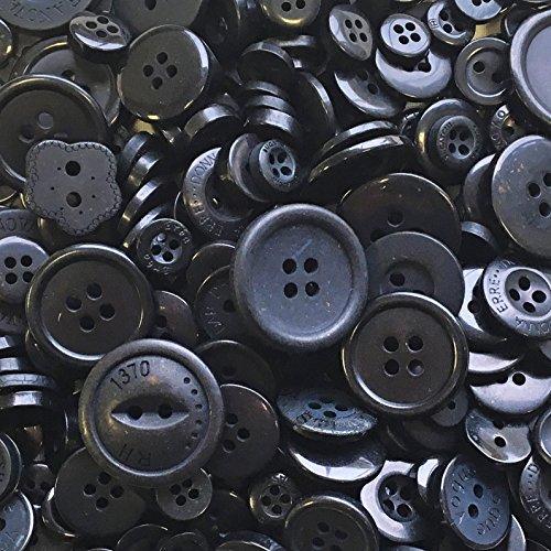 Schwarze Knöpfe, 100 Gramm-Beutel mit gemischten Knöpfen aus Acryl und Harz, für Karten und Verzierungen