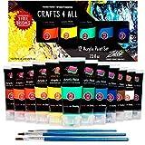 Crafts 4 ALL Set de Pintura Acrilica 12 Colores Premium para Artistas, Estudiantes y Principiantes, Perfecto para Paisaje y Pinturas sobre Lienzo (75 mL)