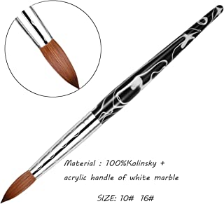 Esung 100% kolinsky acrylic nail brush size 10 size 16 with white/black marble handle,factory direct sale (#10)