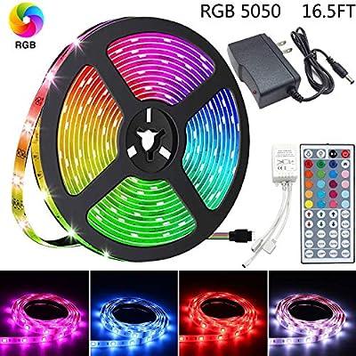 LED Strip Lights, 16.4ft RGB LED Light Strip 5050 LED Tape Lights, Color Changing LED Strip Lights with Remote for Home Kitchen Bedroom Car