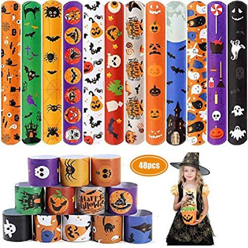 FENGLI Snap Bracele- 48Pcs Halloween Slap Bracelets Party Favors Halloween Printed Design Slap Bands for Kids Adults
