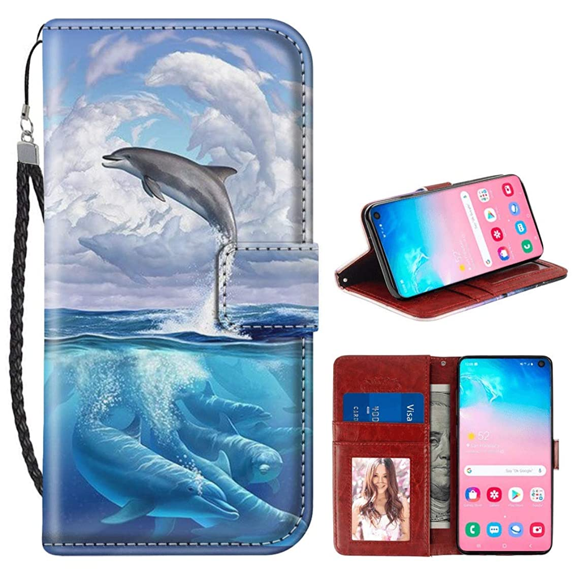 Dolphin Cloud Samsung Galaxy S10e Wallet Case for Kickstand PU Leather Card Slot Magnetic Flip Wristlet Phone Cover Samsung Galaxy S10e Case Dolphin Cloud