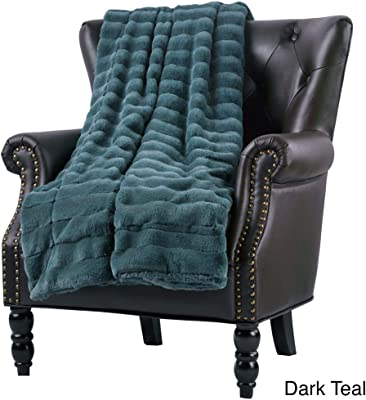 1 Pc Luxurious Casual Dark Teal 50x60 Throw Blanket Modern Style Gorgeous Solid Color Stripe Pattern Super Mink Blanket All Seasons Contemporary Faux Fur Warm Soft Blanket Animal-Friendly