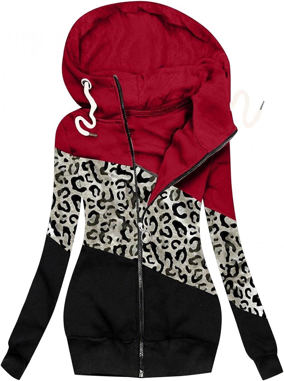 ManxiVoo Women Autumn Hooded Hoodie Jacket Leopard Patchwork Zipper Sweatshirt Long Sleeve Coat Outerwear