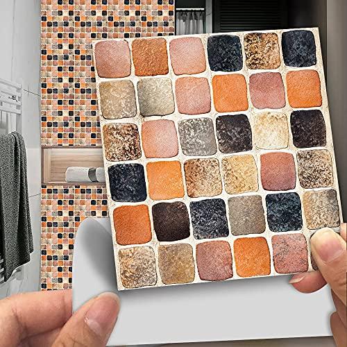 vinilos pared,10 piezas de pegatinas de azulejos de imitación de azulejos de cerámica, pegatinas de pared antideslizantes autoadhesivas resistentes al desgaste de vidrio de baño -10cm