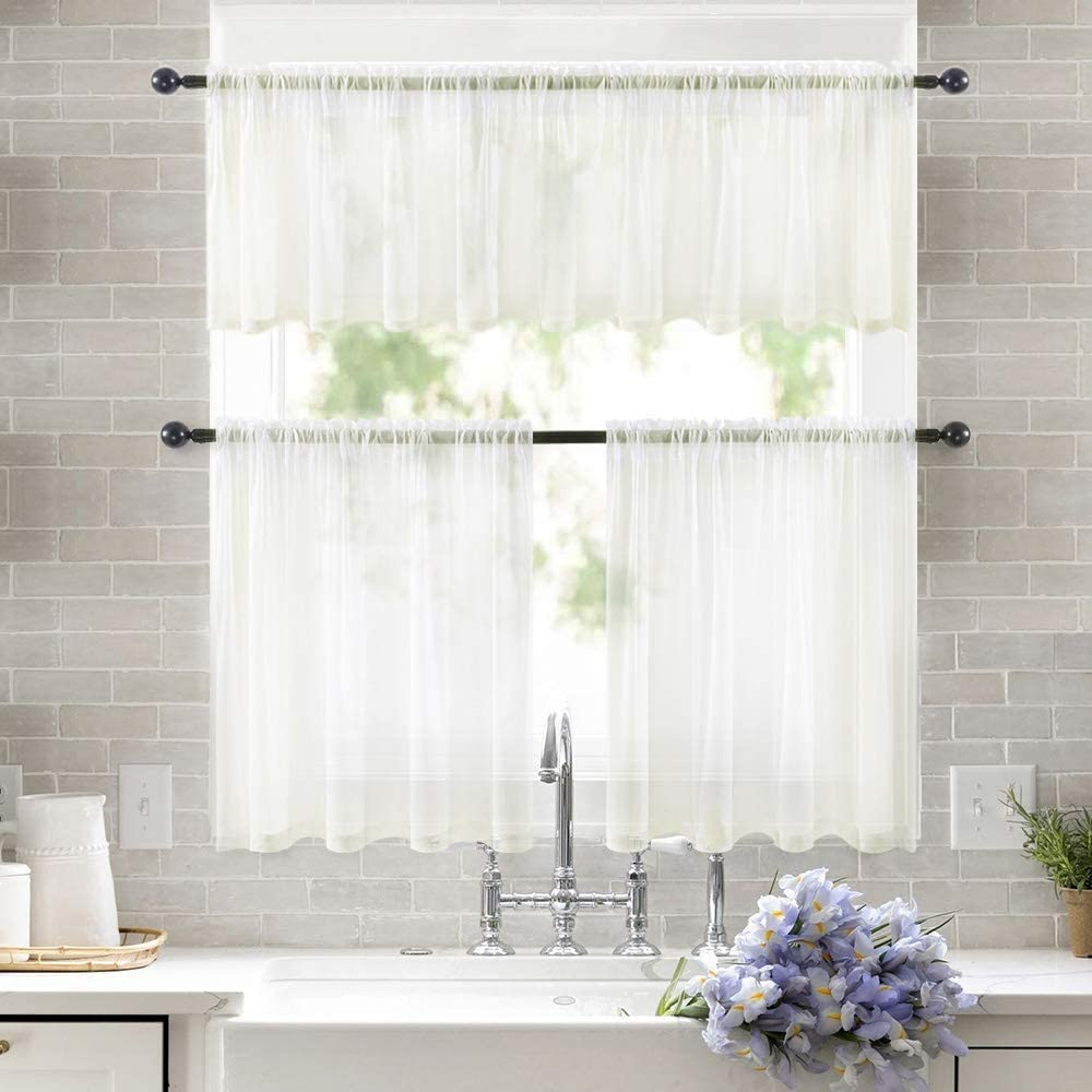 MIULEE Window Valance Half Window Sheer Curtains Rod Pocket Semitranslucent Voile Drapes Extra Wide for Small Window Kitchen Cafe One Panel 54 x 18 Inch Beige
