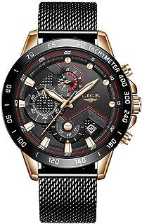 Mens Watches Waterproof Chronograph Stainless Steel Analog Quartz Watch Men Luxury Brand Fashion Dress Business Wristwatch (D)
