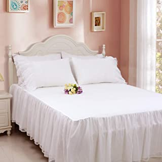 Softta Vintage Solid White Bedding Sets Queen Size Korean style Wedding Princess Bed Sheet/Skirt Set Wrap Around Ruffled w Lace 650 TC Cotton 24 Inches Drop .