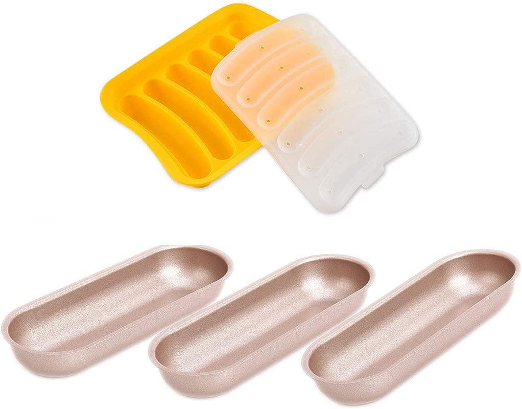 CANDeal Hotdog DIY Set 3Pcs Heavy Gauge Steel Hotdog Bread Oval Loaf Baking Pan With 1Pcs Silicone Sausage Mould