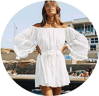 Jfoier women cover-ups Vestido de túnica de algodón Blanco para baño