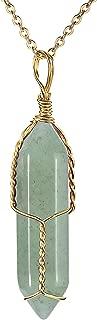 JADENOVA Full Wire Wrapped Energy Healing Crystal Gemstone Pendant Necklace 18