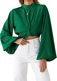 Greetuny Women's Cropped Blouse Solid Color Round Neck Puff Sleeve Blouses Long Sleeve Mid Waist Knotted Crop Tops