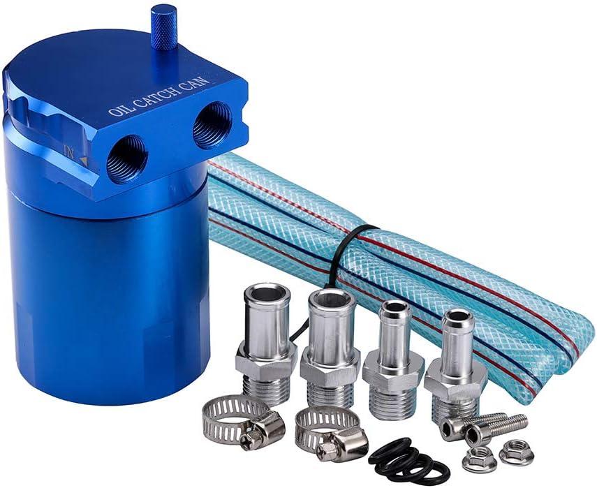 Kkmoon Aluminium Engine Öl Auffangbehälter Oil Catch Tank Typ Bluffed Ölfangbehälter Tank Reservoir Breather Mit Armaturen Solide Blau Auto