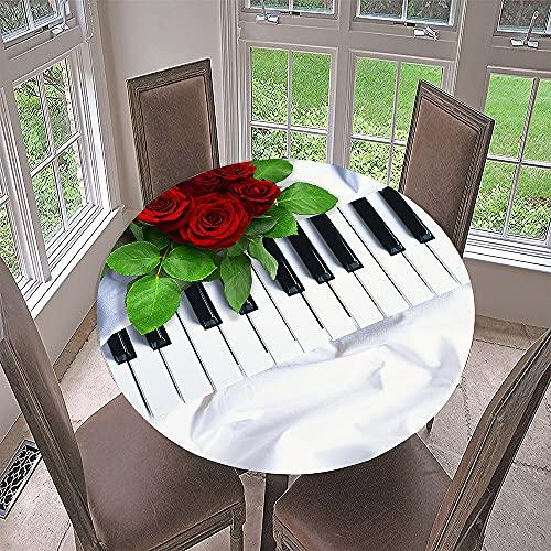 Impermeable Redondo Mantel con Borde Elástico, Fansu 3D Instrumento musical Impresión Mantel de Mesa Elástica Ajustada Cubierta de Mesa para Picnic Comedor Cocina Restaurante Cena (Rosa,Diámetro 90cm)